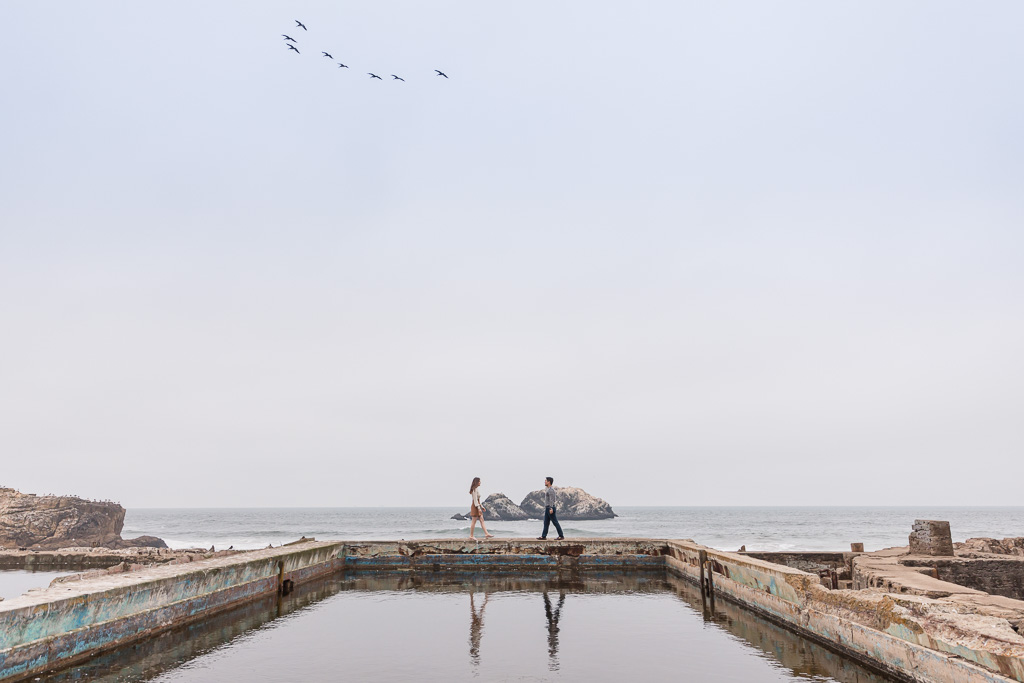 Sutro Baths engagement couple portrait down by the water