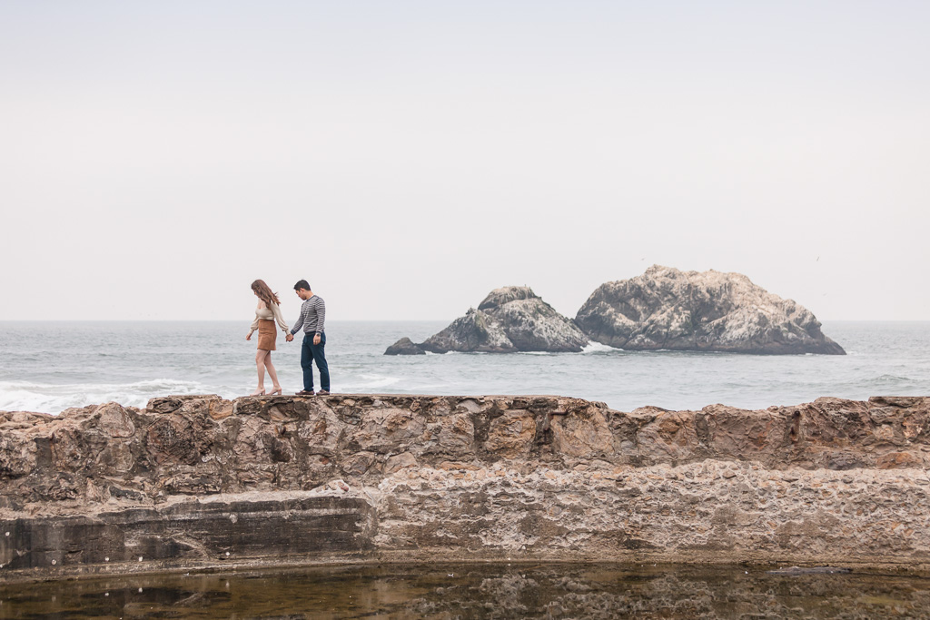 engagement photo by the San Francisco old ruin