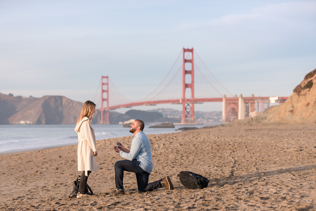 sunny Baker Beach sunset surprise proposal