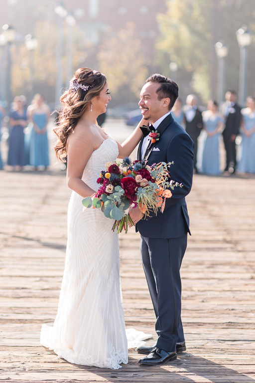 bride and groom portrait at Pier 7