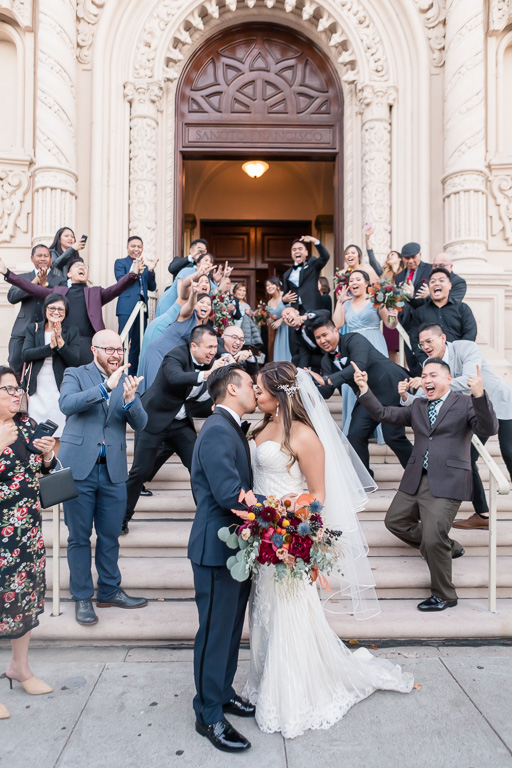Mission Dolores Basilica chapel spontaneous fun wedding photo
