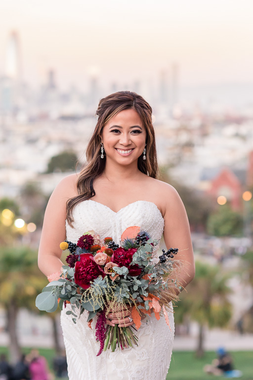 bridal portrait at sunset overlooking San Francisco skyline