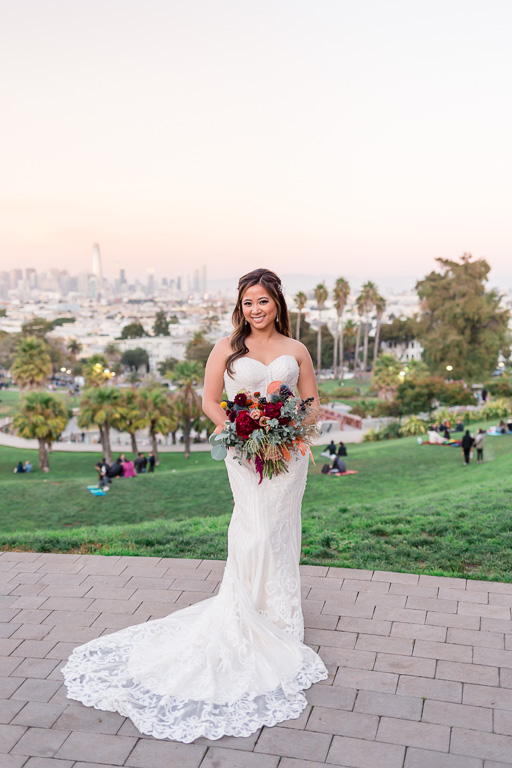 bridal portrait at Mission Dolores Park