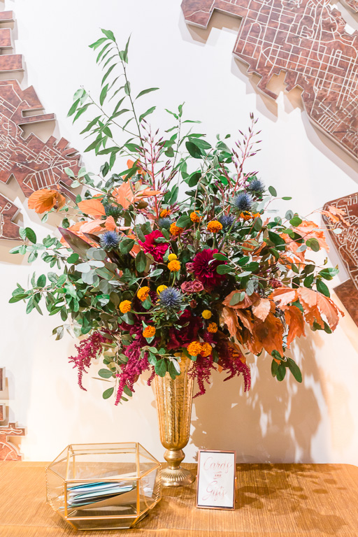 lush and vibrant Fall color wedding floral design at The Pearl SF