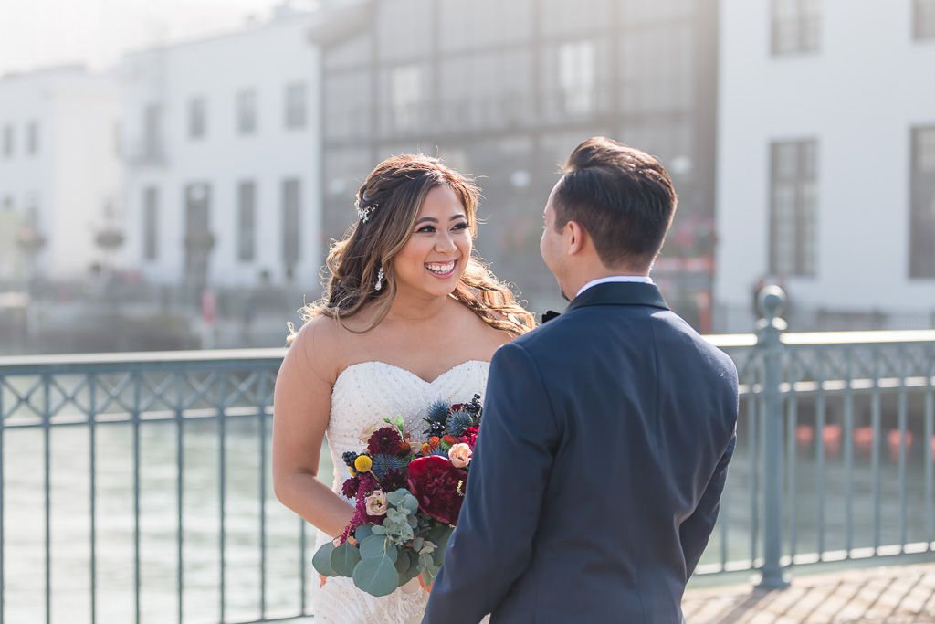 bride's reaction at first look