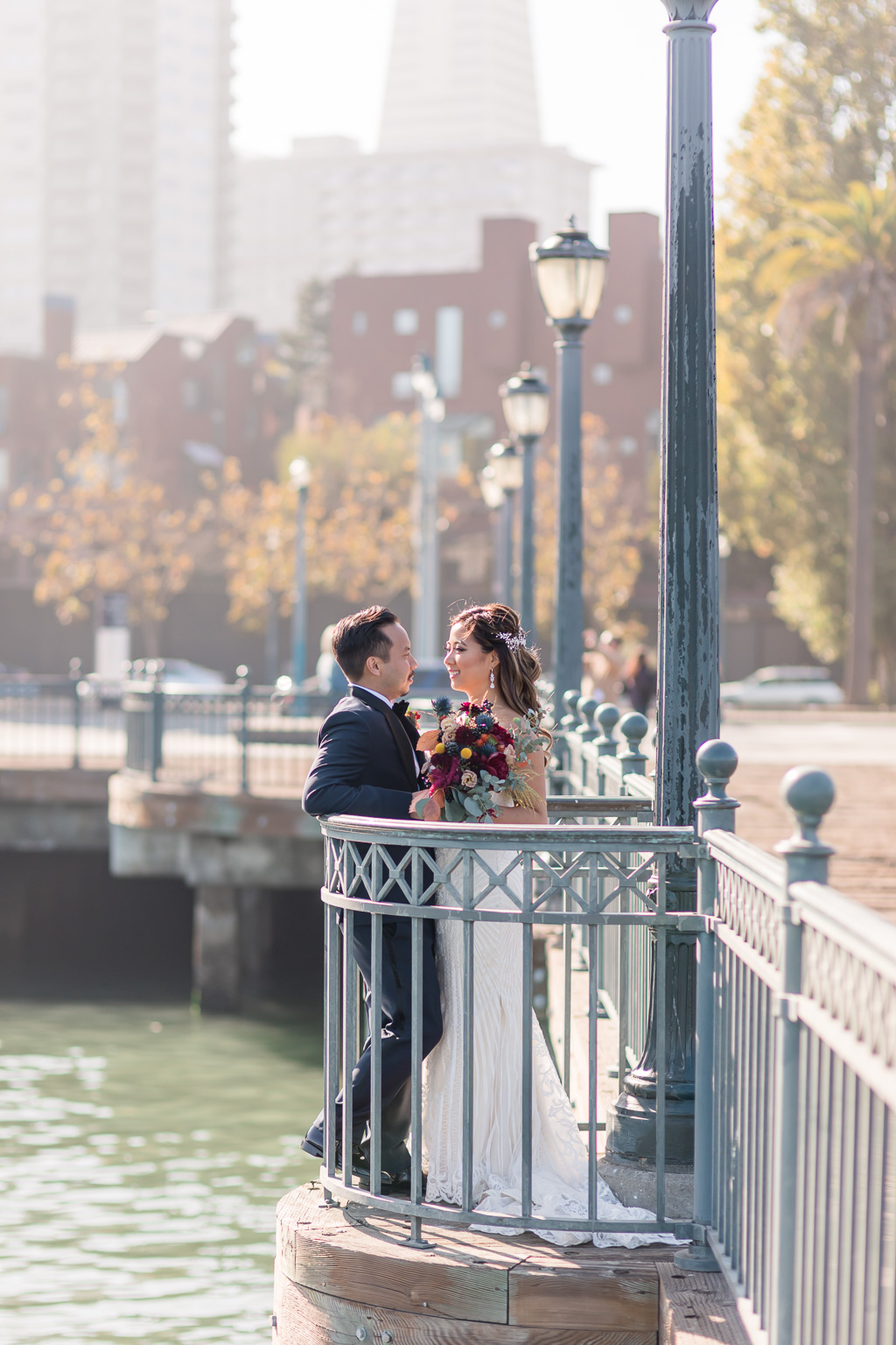 Embarcadero Pier 7 wedding bride and groom portrait