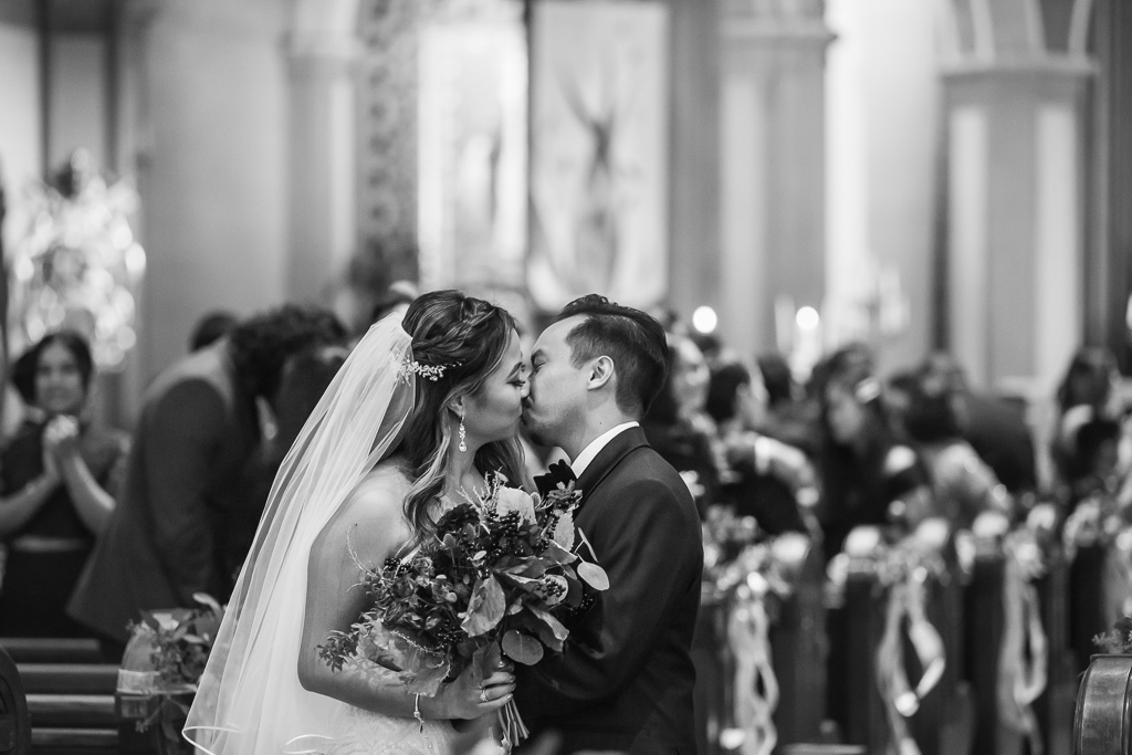 Mission Dolores Basilica church wedding ceremony first kiss