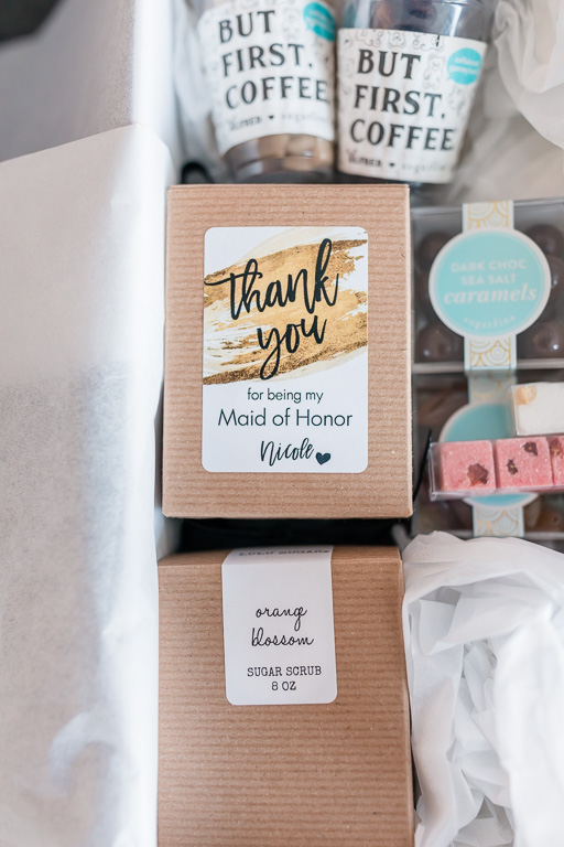 a box of thank you gifts for maid of honor