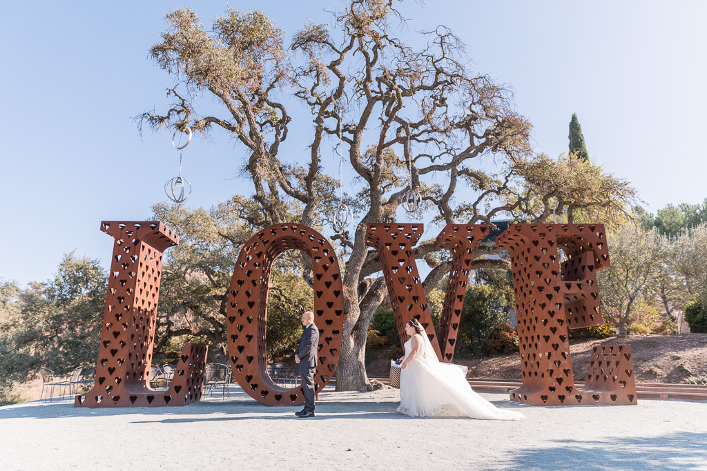 big love sign wedding first look