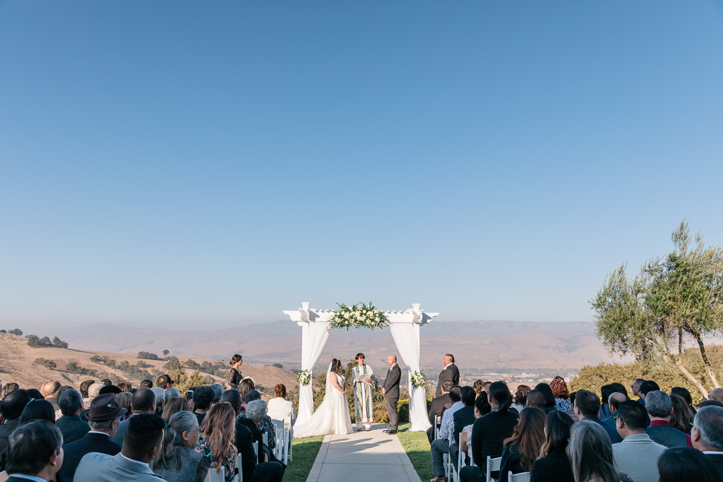 Willow Heights Mansion wedding ceremony overlooking the rolling mountains