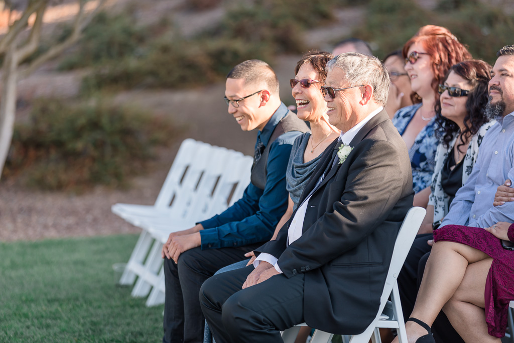 parents laughing during ceremony