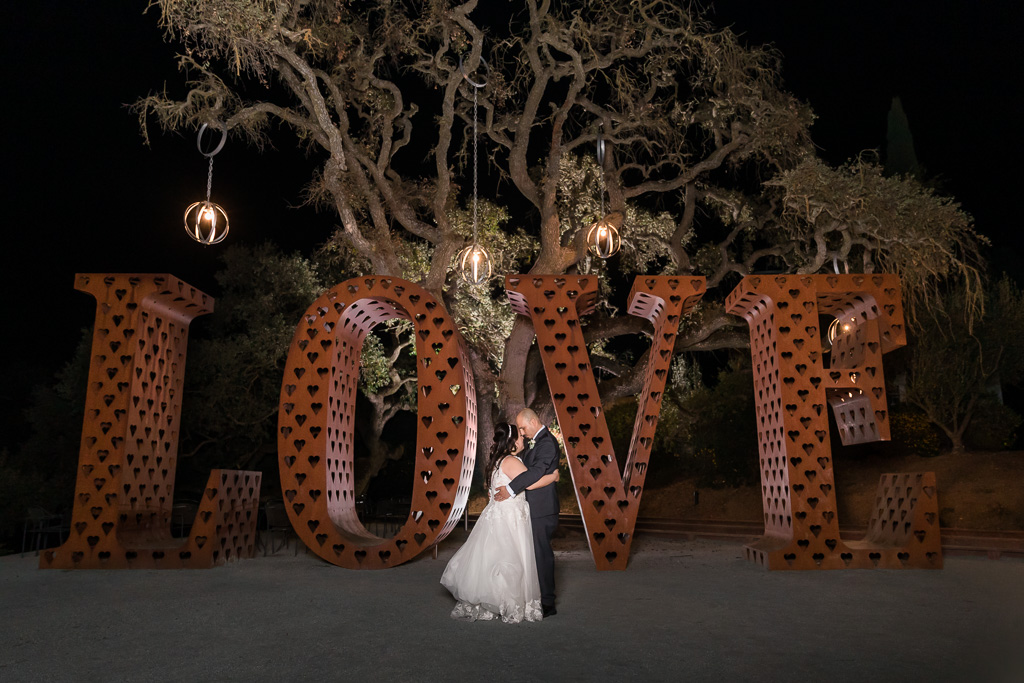 night photo by the giant love sign