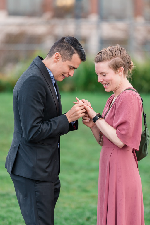 putting on the ring after proposal