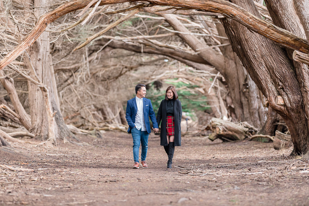 engagement photos at the half moon bay tree tunnel