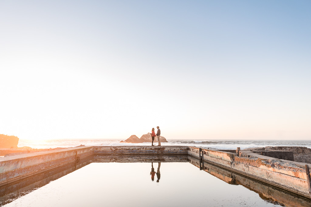Sutro Baths sunset surprise proposal