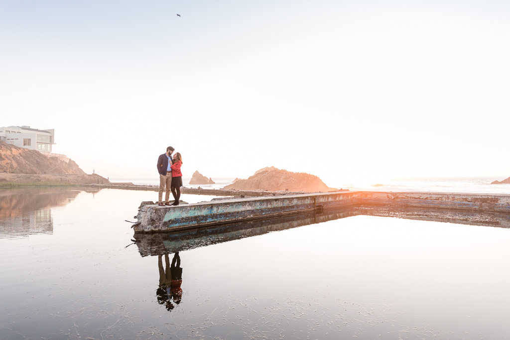 Sutro Baths sunset engagement photo