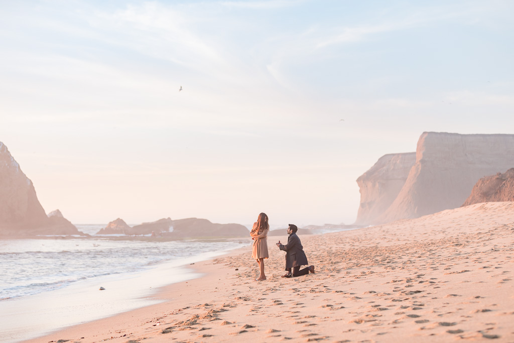 amazing surprise proposal at Martin's Beach in Half Moon Bay