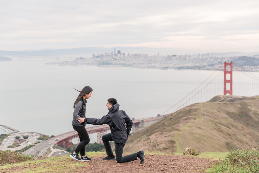 he's about to pop the question on top of San Francisco