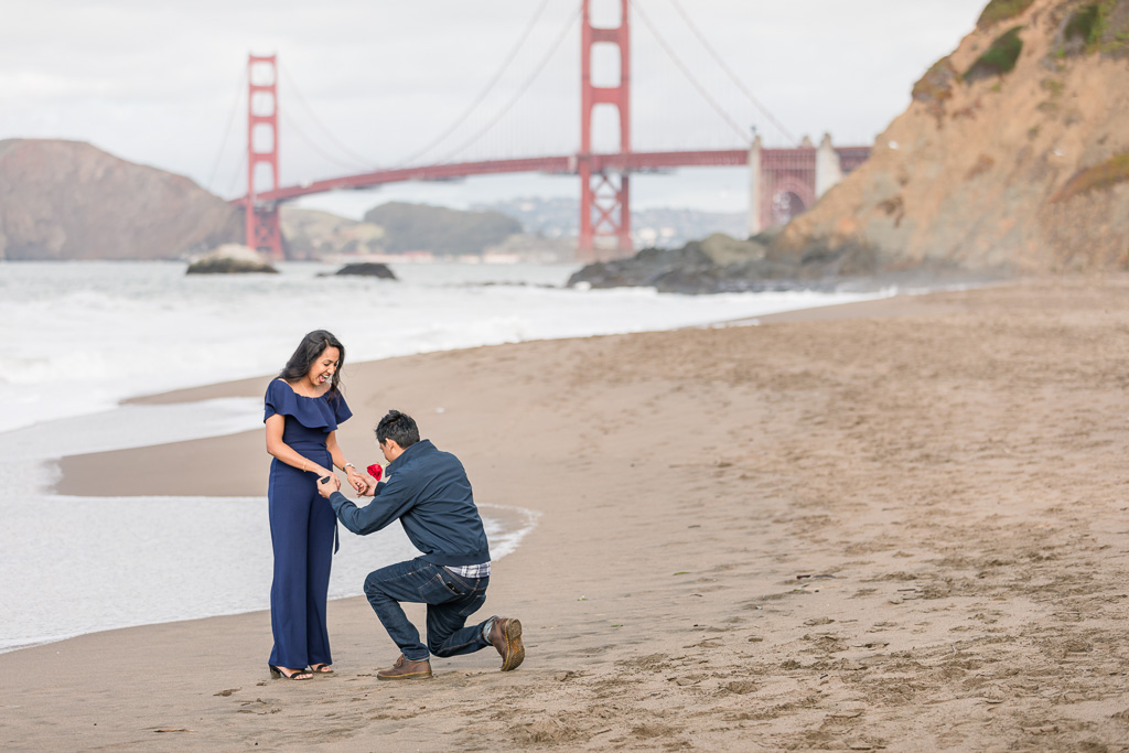 most precious reaction when he got down on one knee at this Baker Beach surprise proposal