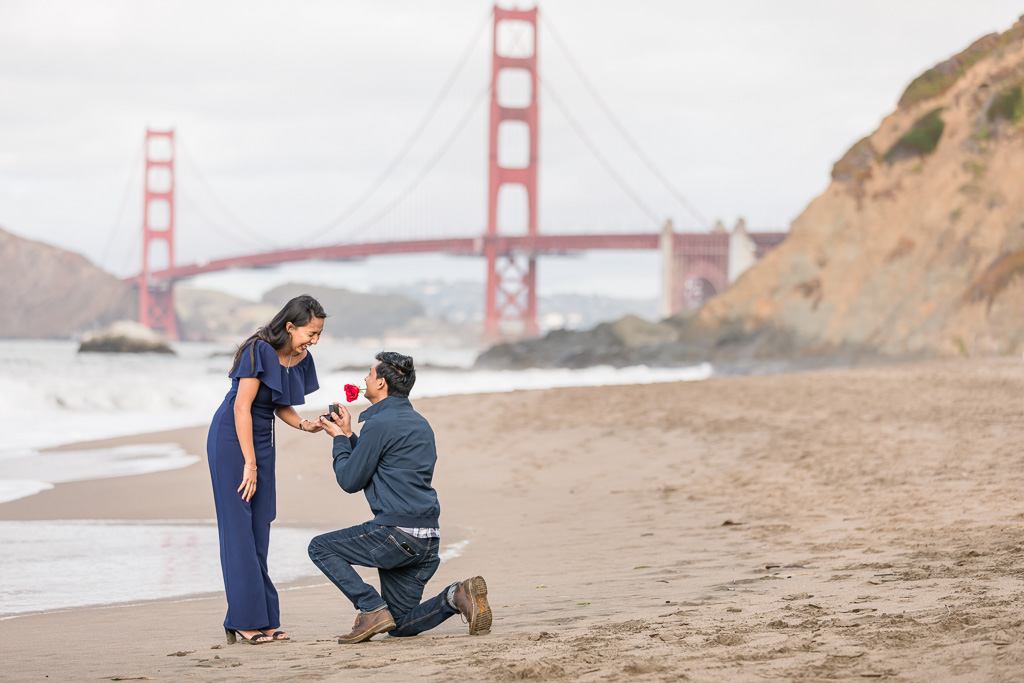 surprise marriage proposal at San Francisco's most popular beach