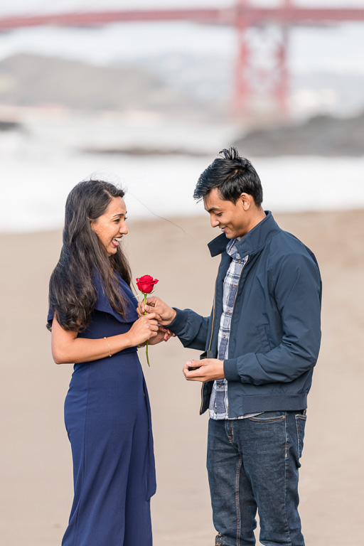 he gave her a rose that he's been hiding this whole time