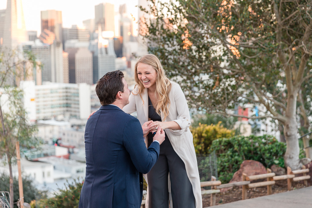San Francisco city park surprise engagement proposal