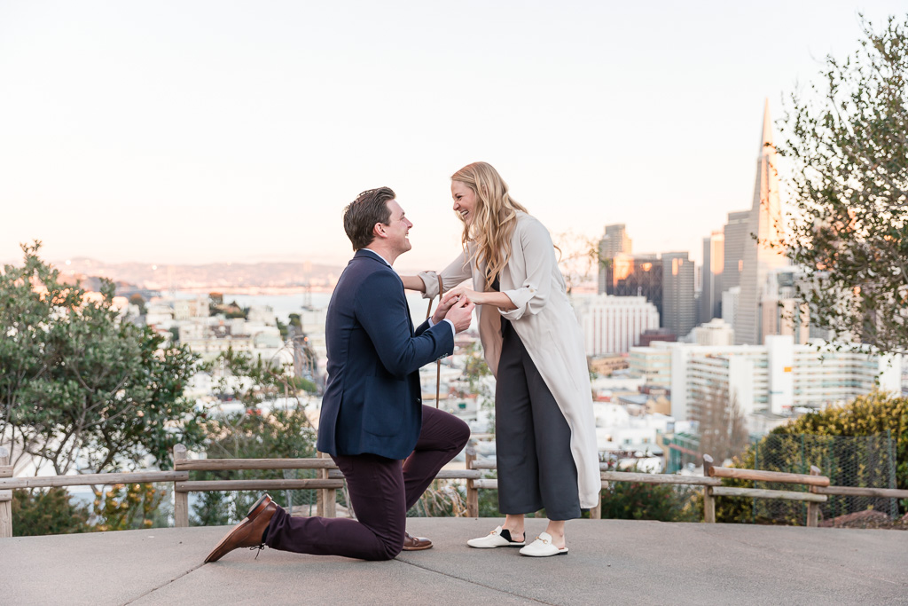San Francisco Ina Coolbrith Park surprise proposal at sunset