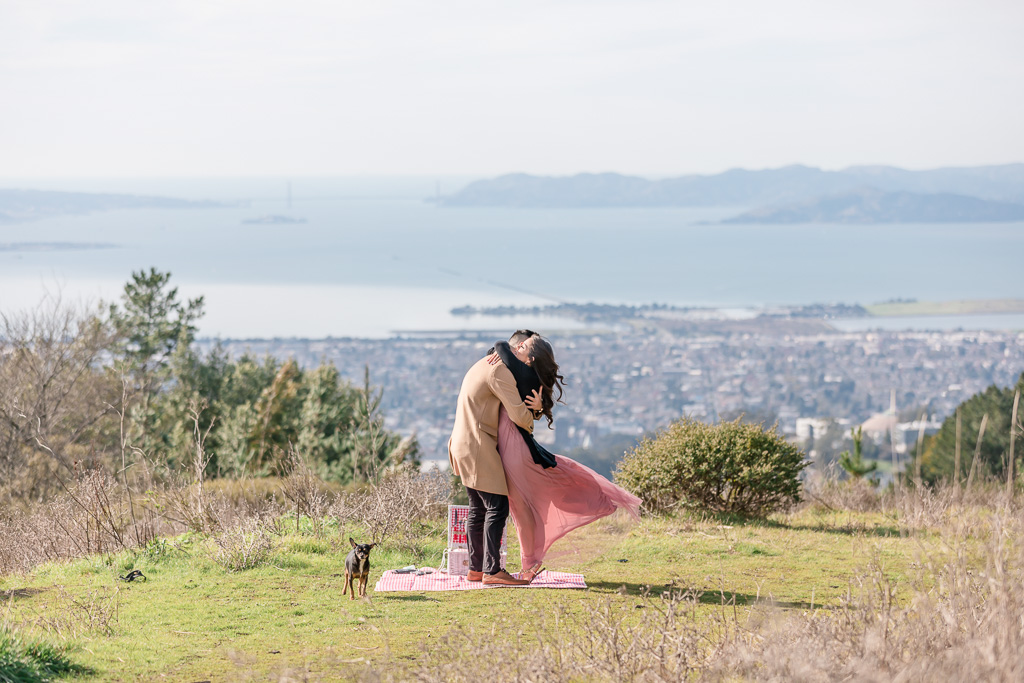 Berkeley surprise proposal on top of a hill overlooking the Bay