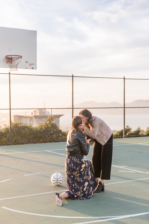 basketball court surprise proposal in San Francisco