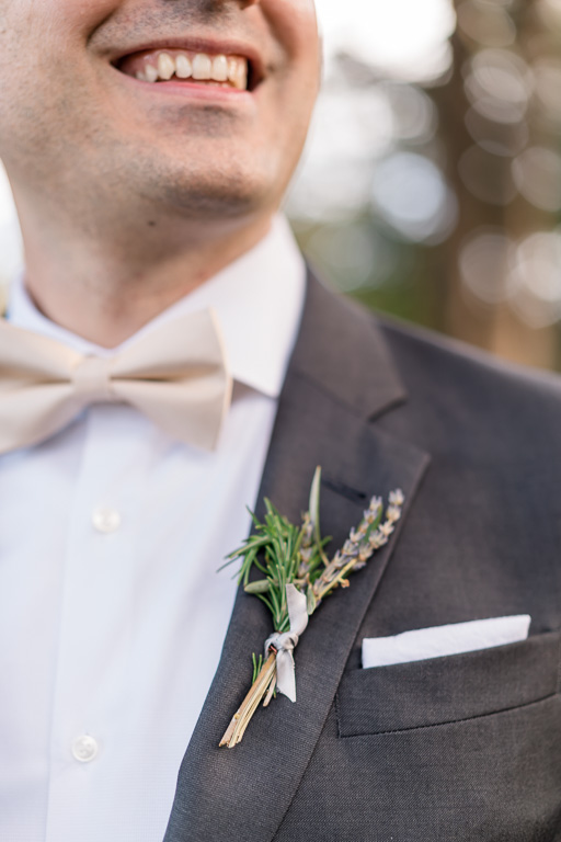 close-up of the boutonniere
