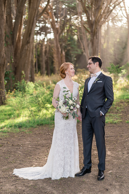 San Francisco outdoor wedding portrait in the trees