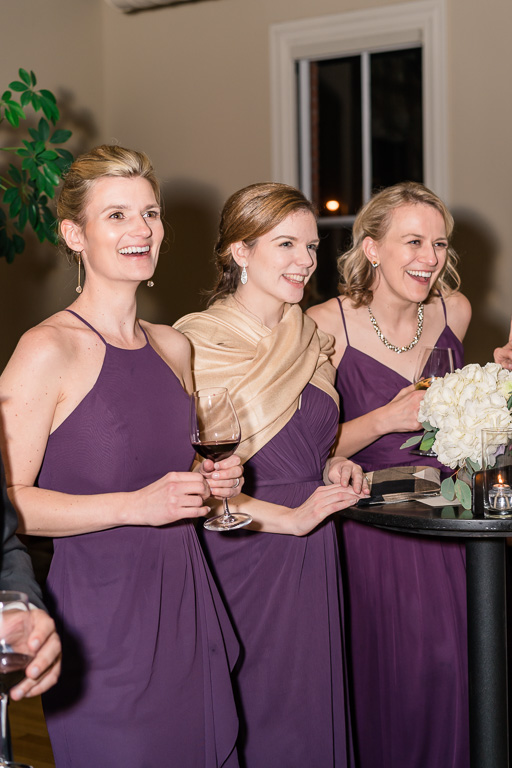 bridesmaids' reaction during the funny speech given by maid of honor