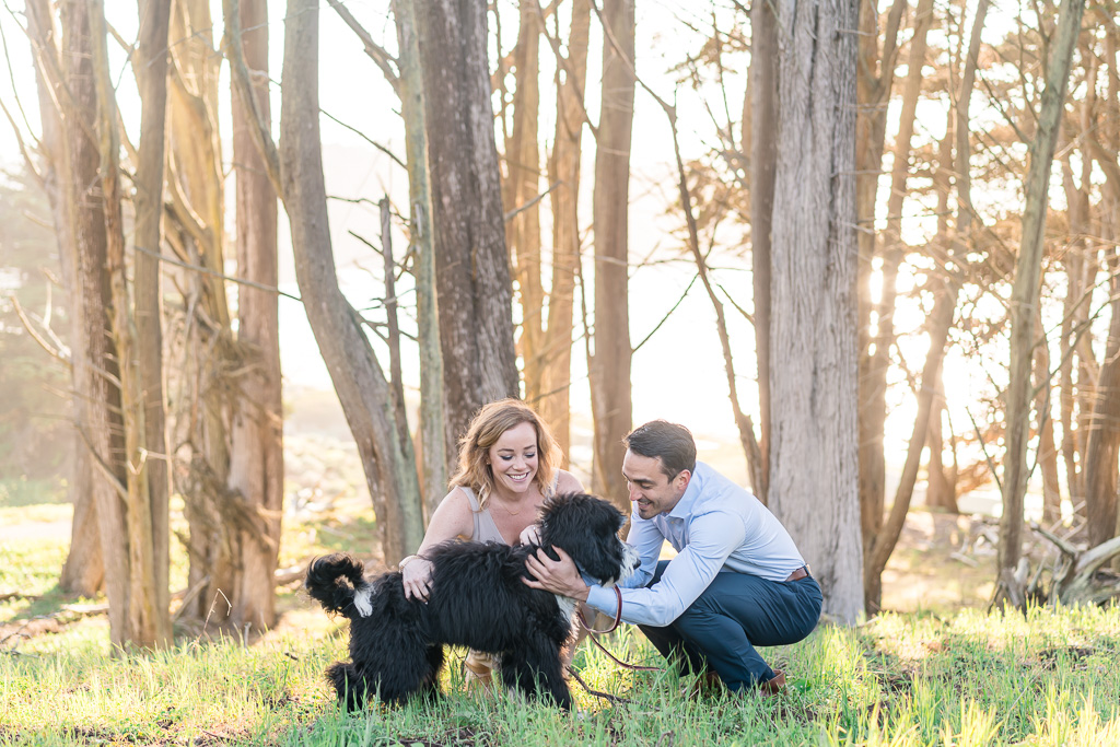 San Francisco sun filled engagement photo in the woods