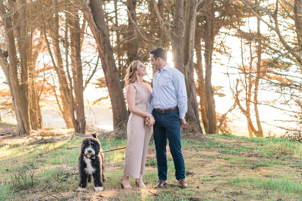 Bay Area engagement photo with puppy in the forest