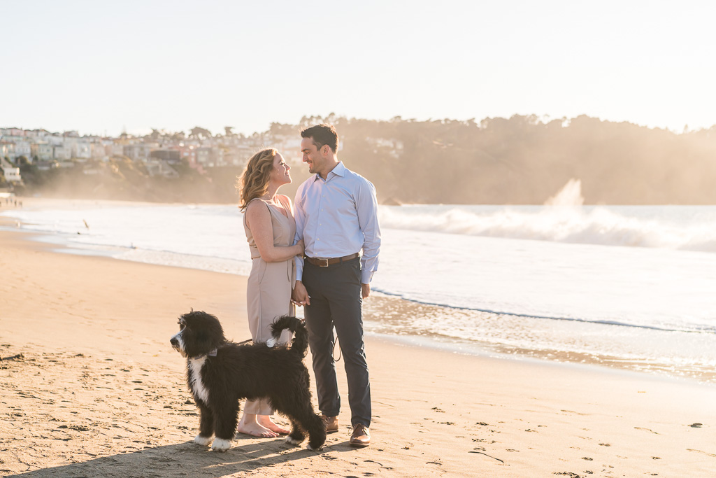 adorable puppy makes this engagement photo perfect