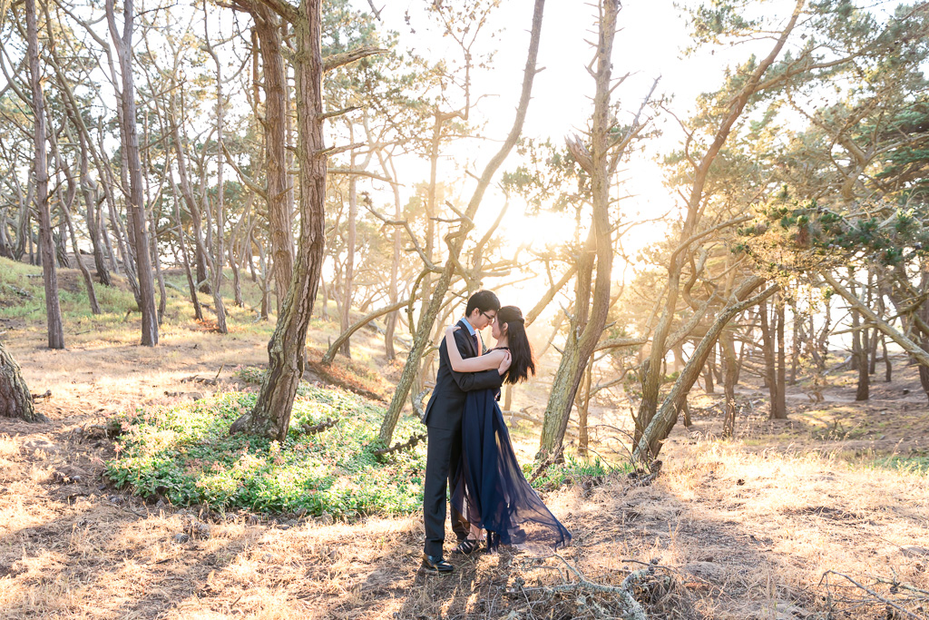 couple standing in the forest with the golden sunlight