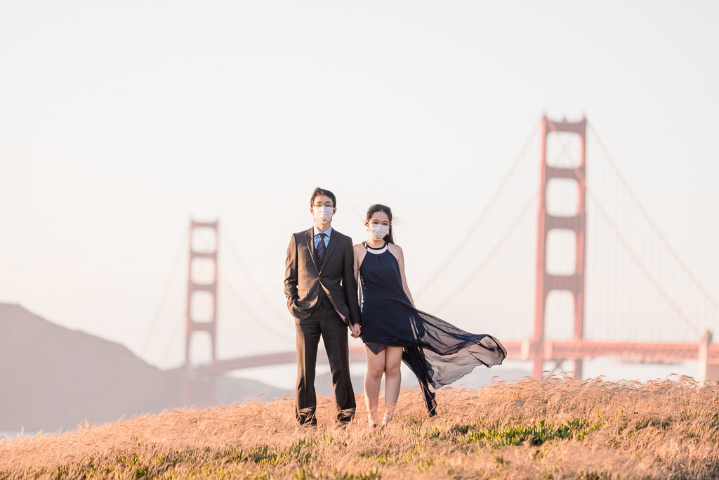 San Francisco engagement photo with face masks during COVID-19 outbreak