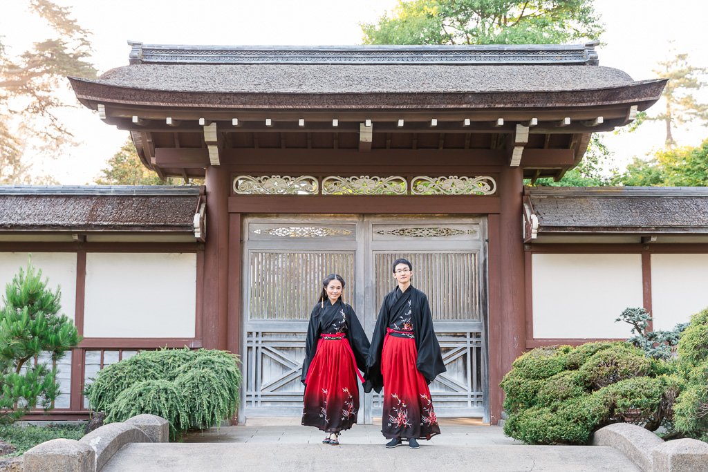 Golden Gate Park engagement couple portrait with traditional outfit
