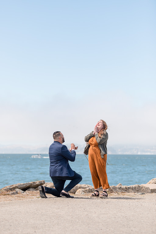 precious reaction during a San Francisco surprise proposal by the water