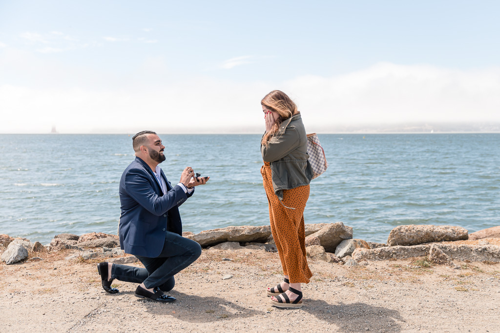 sunny san francisco surprise engagement proposal by the water