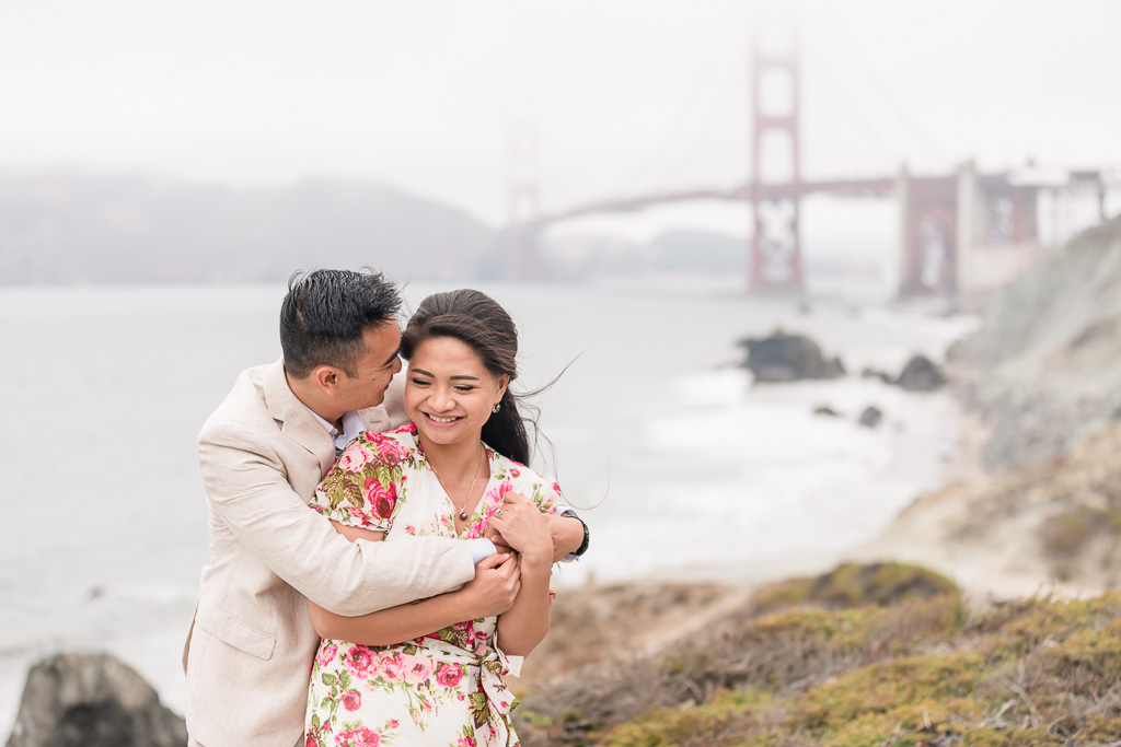 candid and happy engagement couple portrait