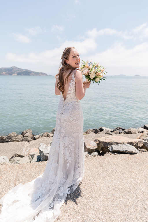 beautiful bride at Sausalito bridgeway