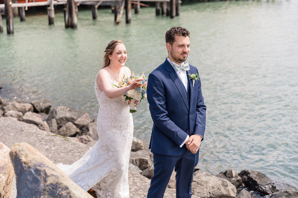 wedding first look at Sausalito waterfront