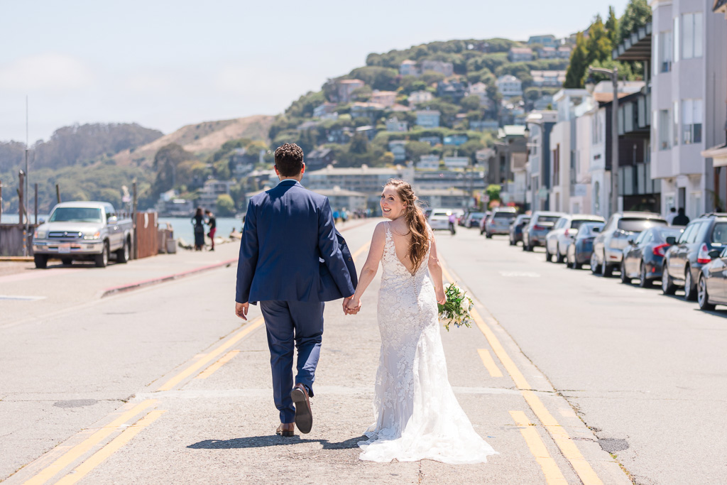 wedding photo on Sausalito street