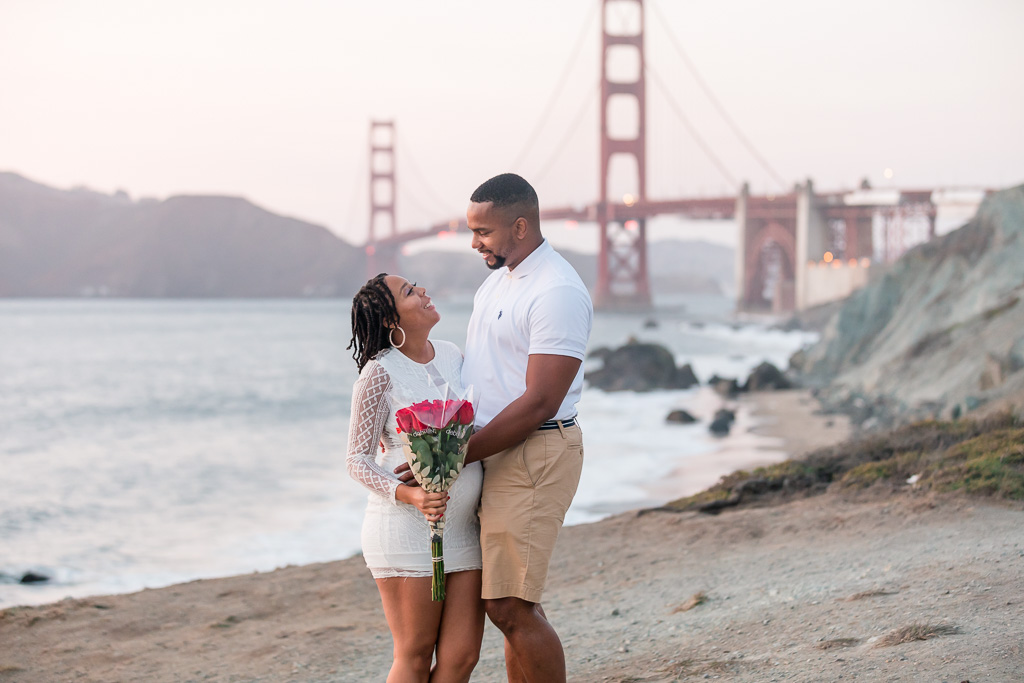 engaged couple at SF beach