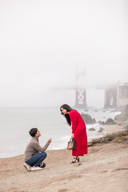 surprise proposal in red dress