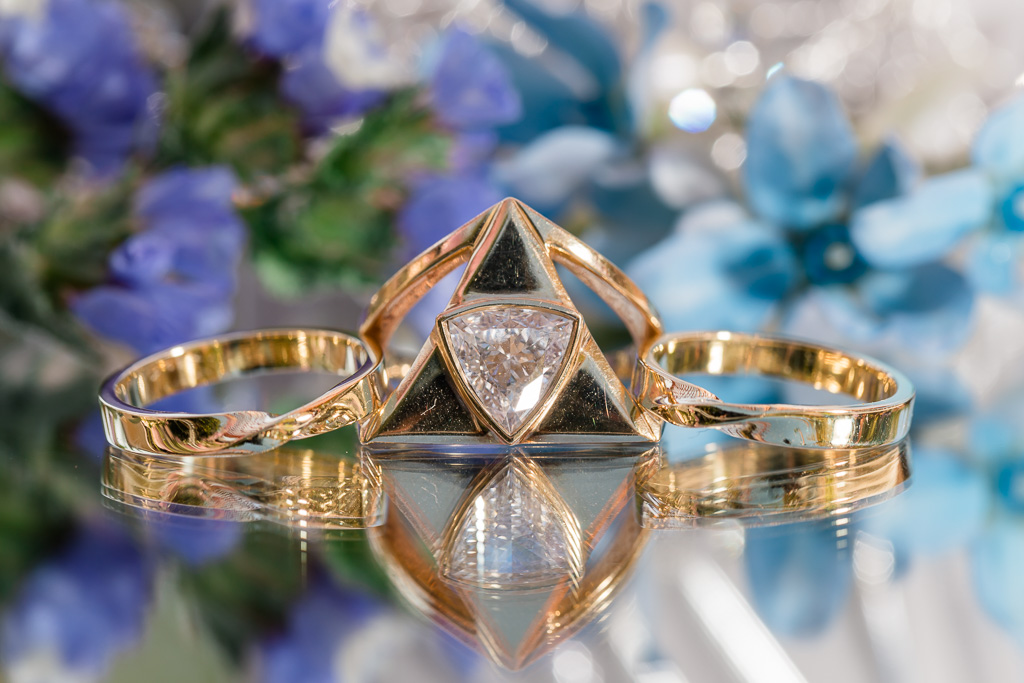 Zelda Triforce engagement ring with matching wedding bands