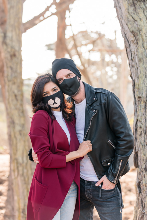 covid mask engagement photo in the trees