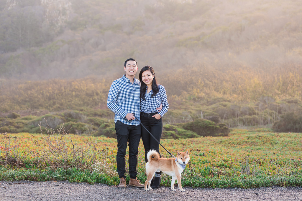 holiday family picture with cute Shiba Inu