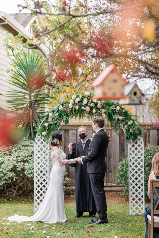 marriage ceremony in the couple's backyard